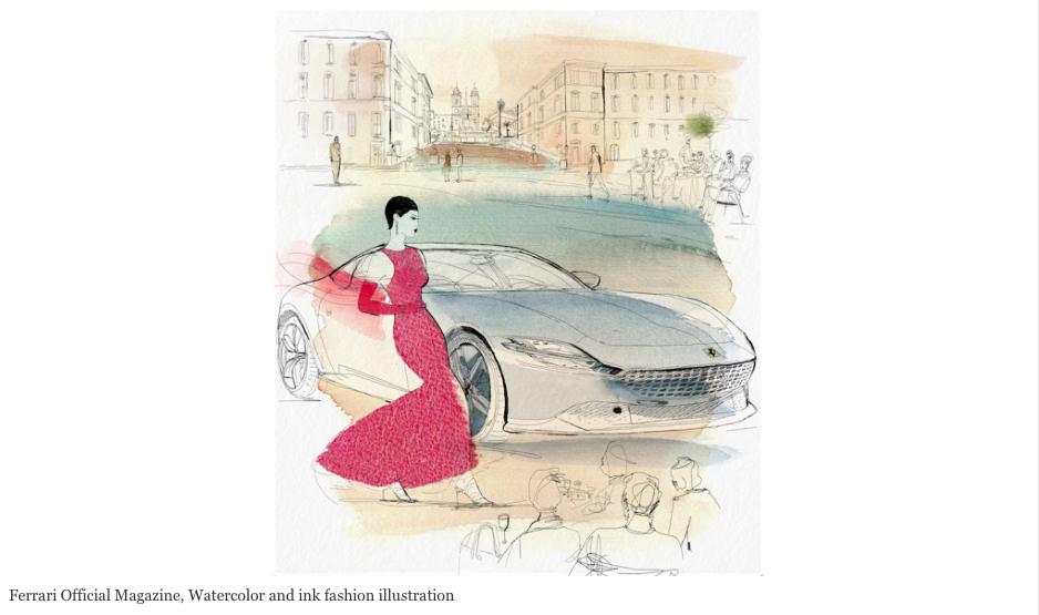 Watercolor fashion illustration, Ferrari