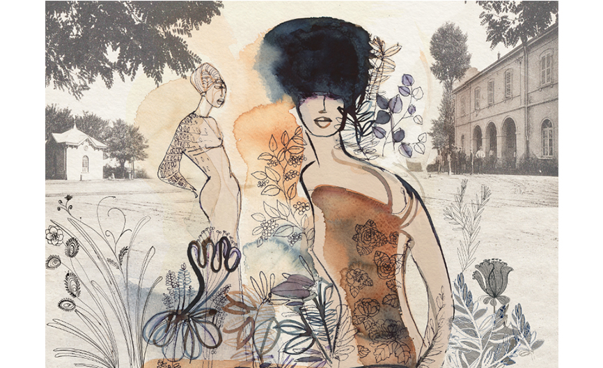 Watercolor ink fashion illustration, exhibition at Galleria Gamondio