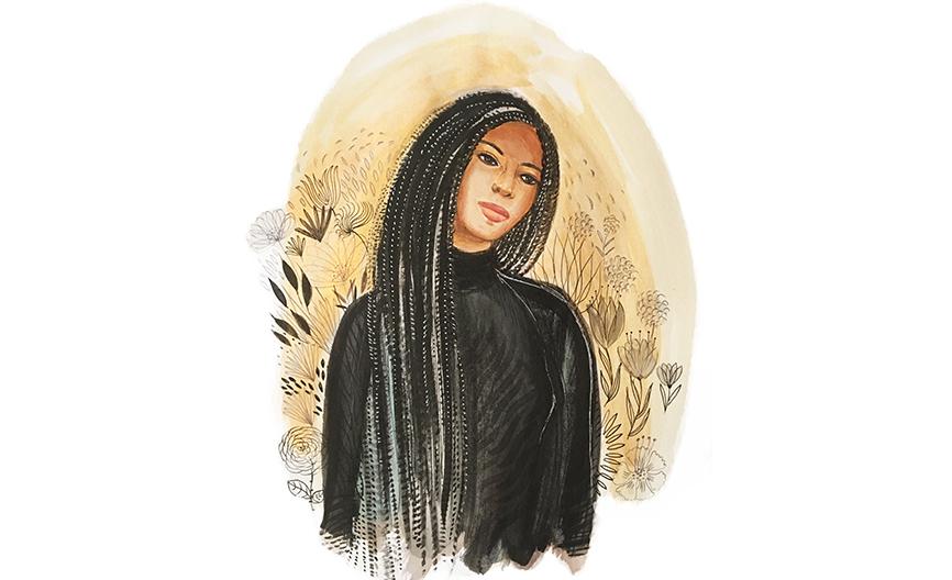 Watercolor ink portrait, fashion