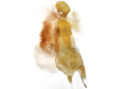 Watercolor fashion ink illustration, c. Alessandra Scandella