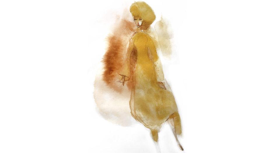 Watercolor fashion ink illustration, c. Alessandra Scandella