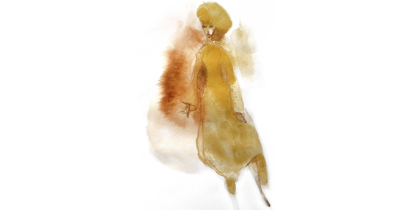 Watercolor fashion illustration, woman in gold