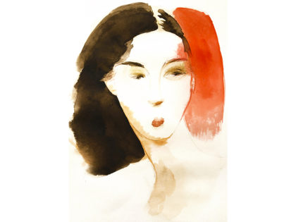 Watercolor fashion ink illustration, portrait, d, Alessandra Scandella
