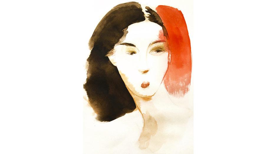 Watercolor fashion ink illustration, portrait, d, Alessandra Scandella