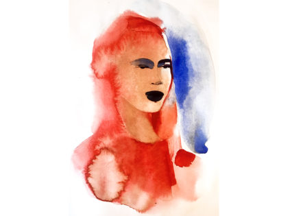 Watercolor fashion ink illustration, portrait, n, Alessandra Scandella
