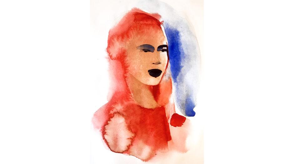 Watercolor fashion ink illustration, portrait, n, Alessandra Scandella