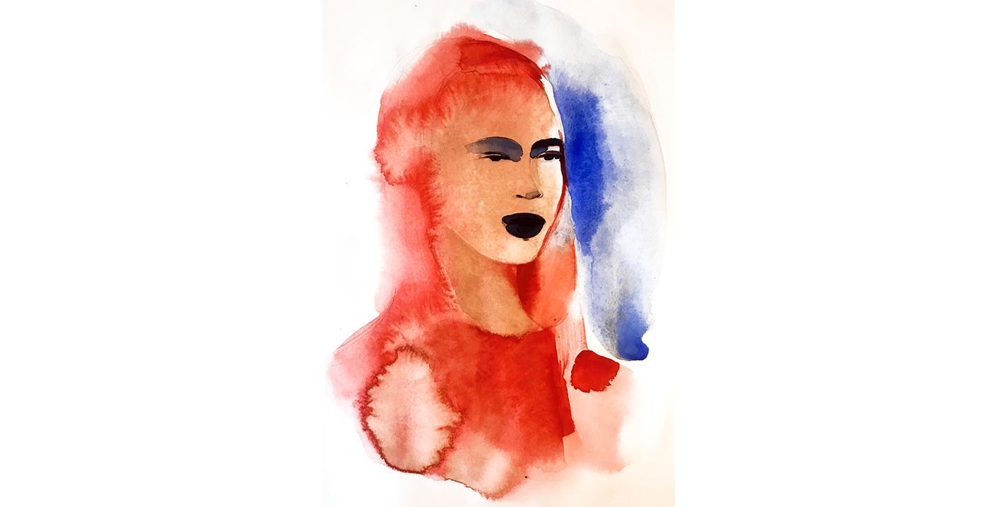 Woman portrait, watercolor fashion illustration