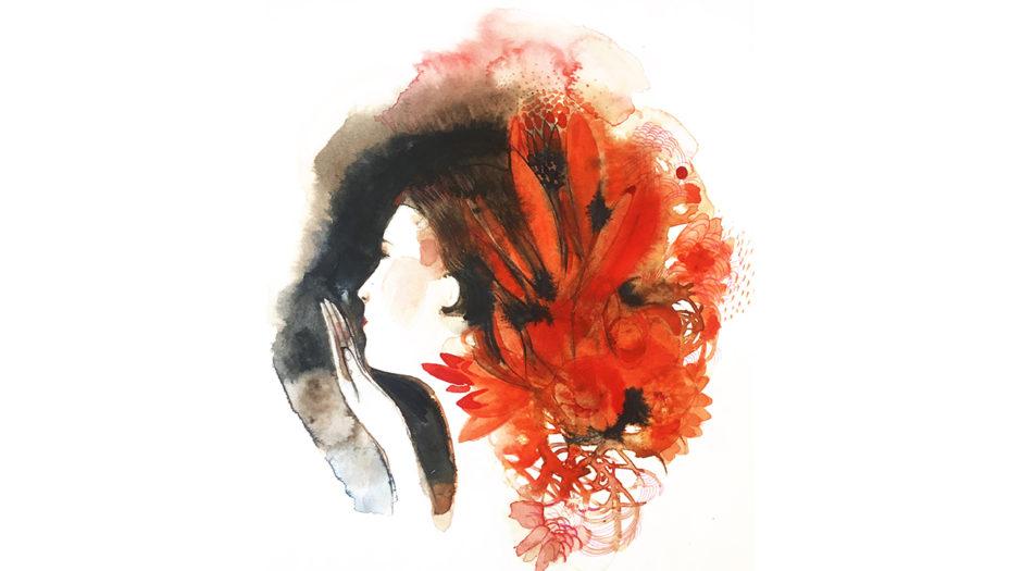 Watercolor fashion ink illustration, portrait,a, Alessandra Scandella
