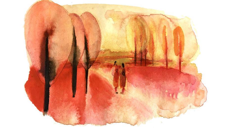 Watercolor fashion ink illustration, women and landscape, Alessandra Scandella