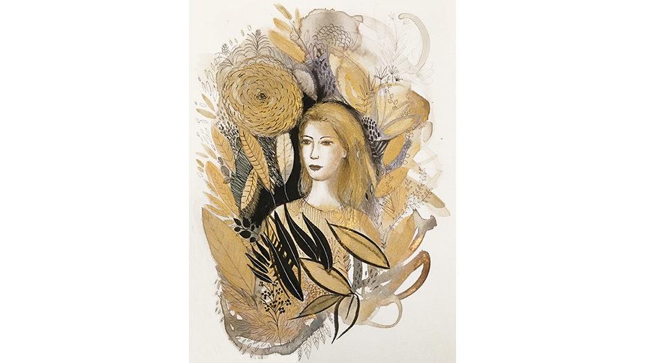 Watercolor fashion illustration, portrait, Alessandra Scandella