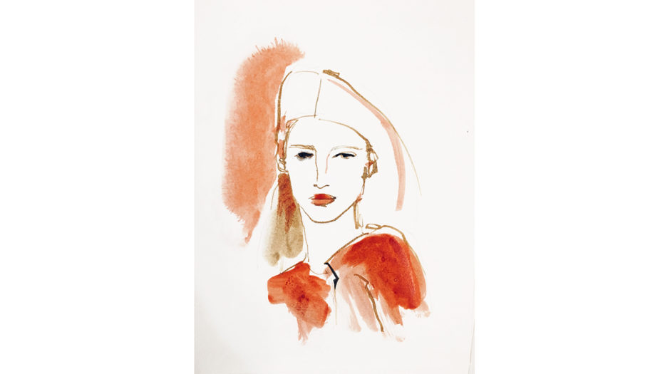 Watercolor ink illustration fashion , portrait woman, Alessandra Scandella