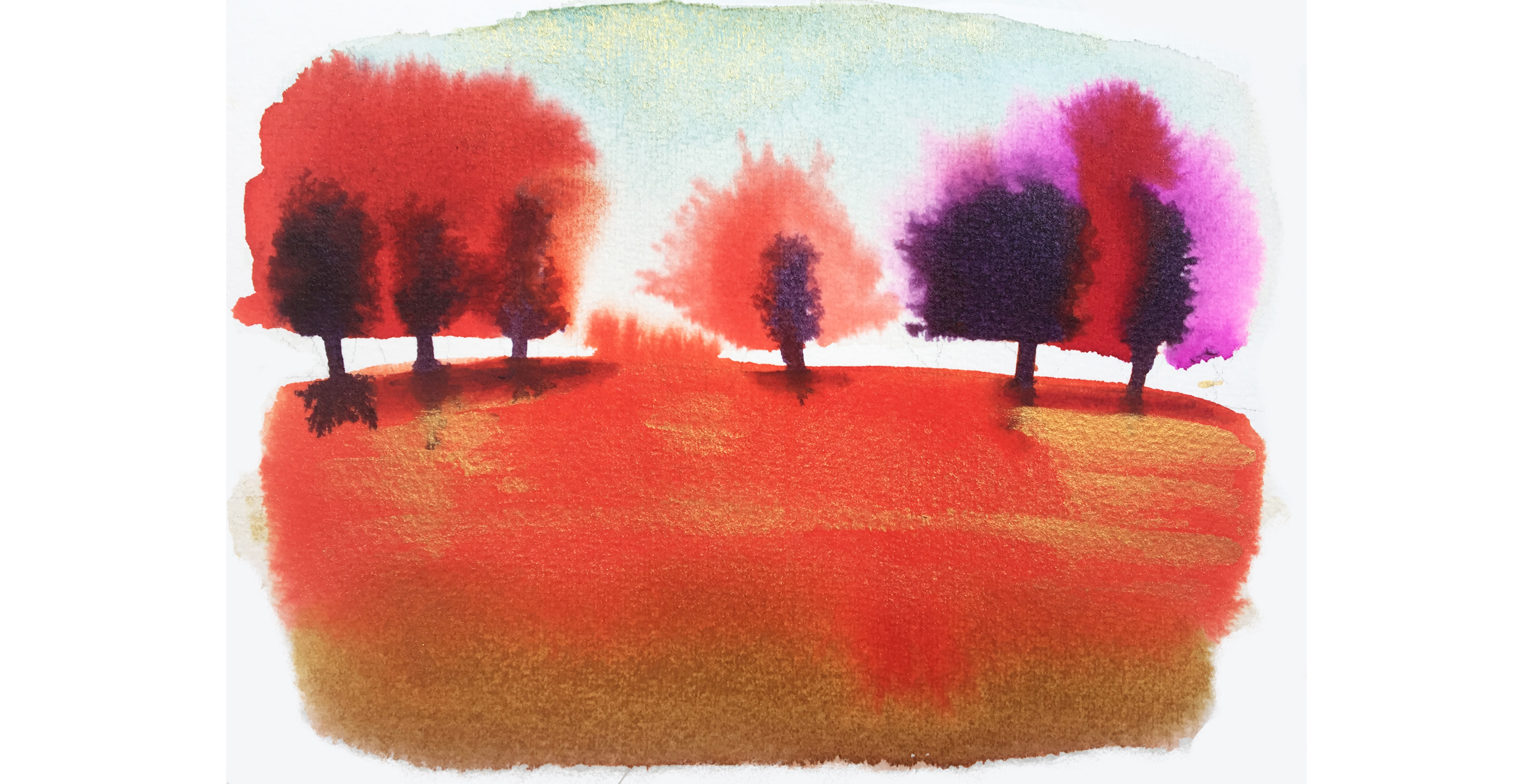 Watercolor ink illustration, landscape and trees