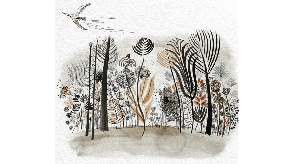 Watercolor ink illustration, nature, trees and flowers, Alessandra Scandella