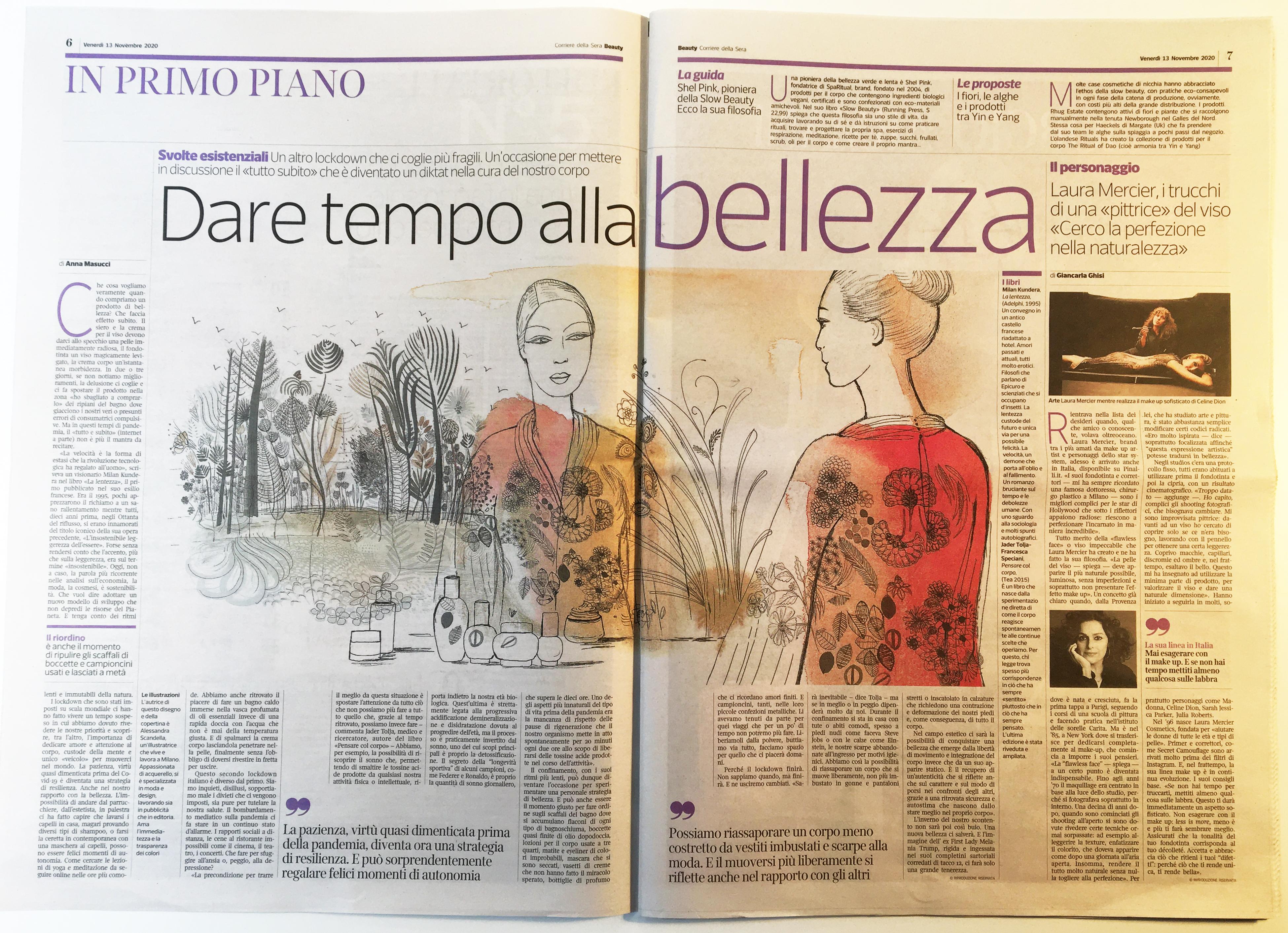 Watercolor ink fashion and beauty illustration for Corriere della Sera