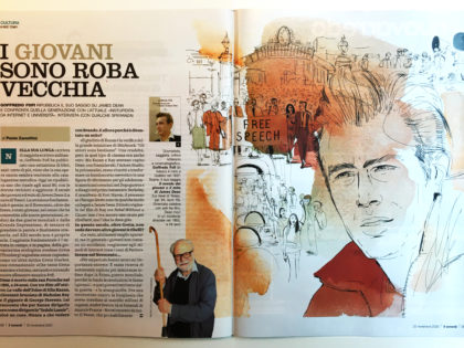 Watercolor ink illustration, James Dean, culture, literature,book, Alessandra Scandella