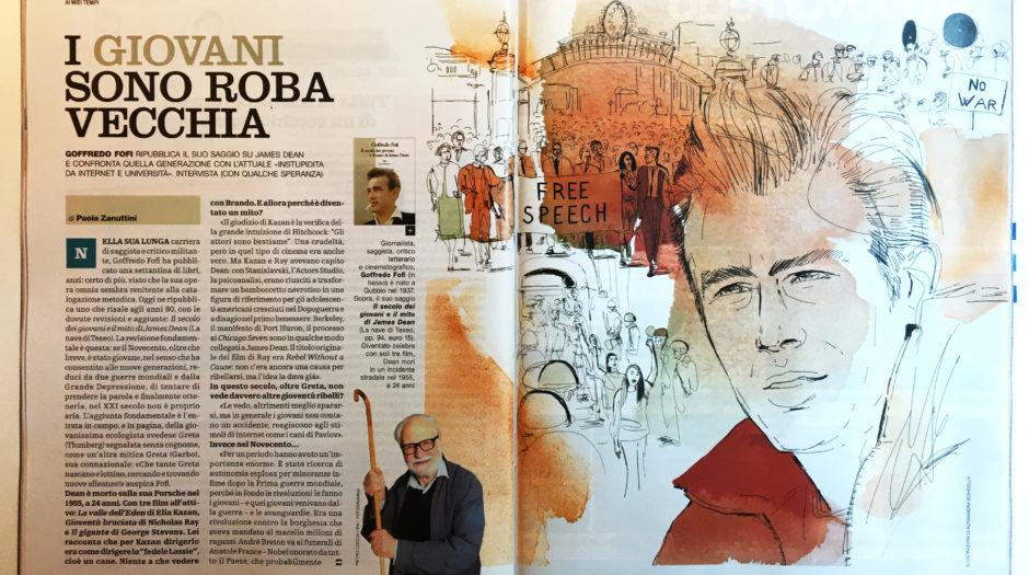 Watercolor ink illustration, James Dean, culture, literature,book, Alessandra Scandella