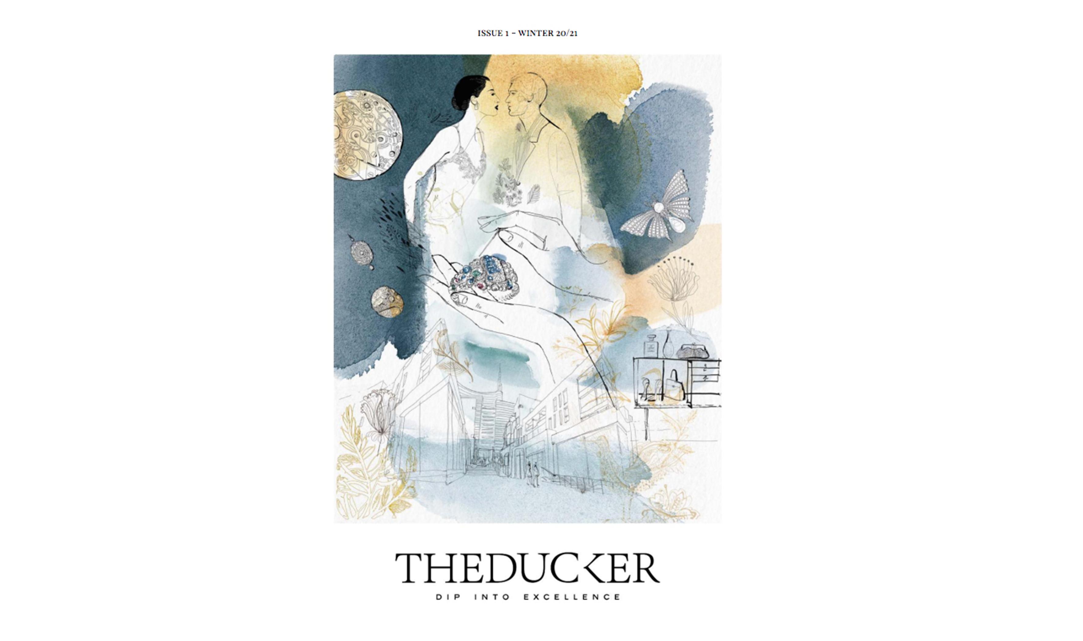 Watercolor fashion illustration, luxury, The Ducker