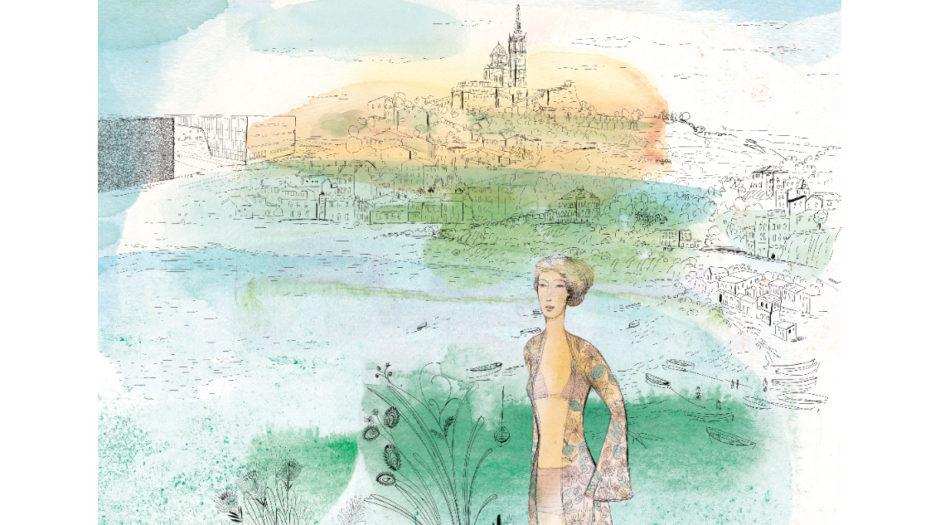 Fashion ink and watercolor illustration, city and design, Alessandra Scandella