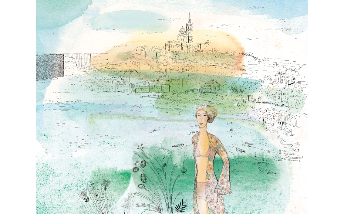 Fashion ink and watercolor illustration, city and design