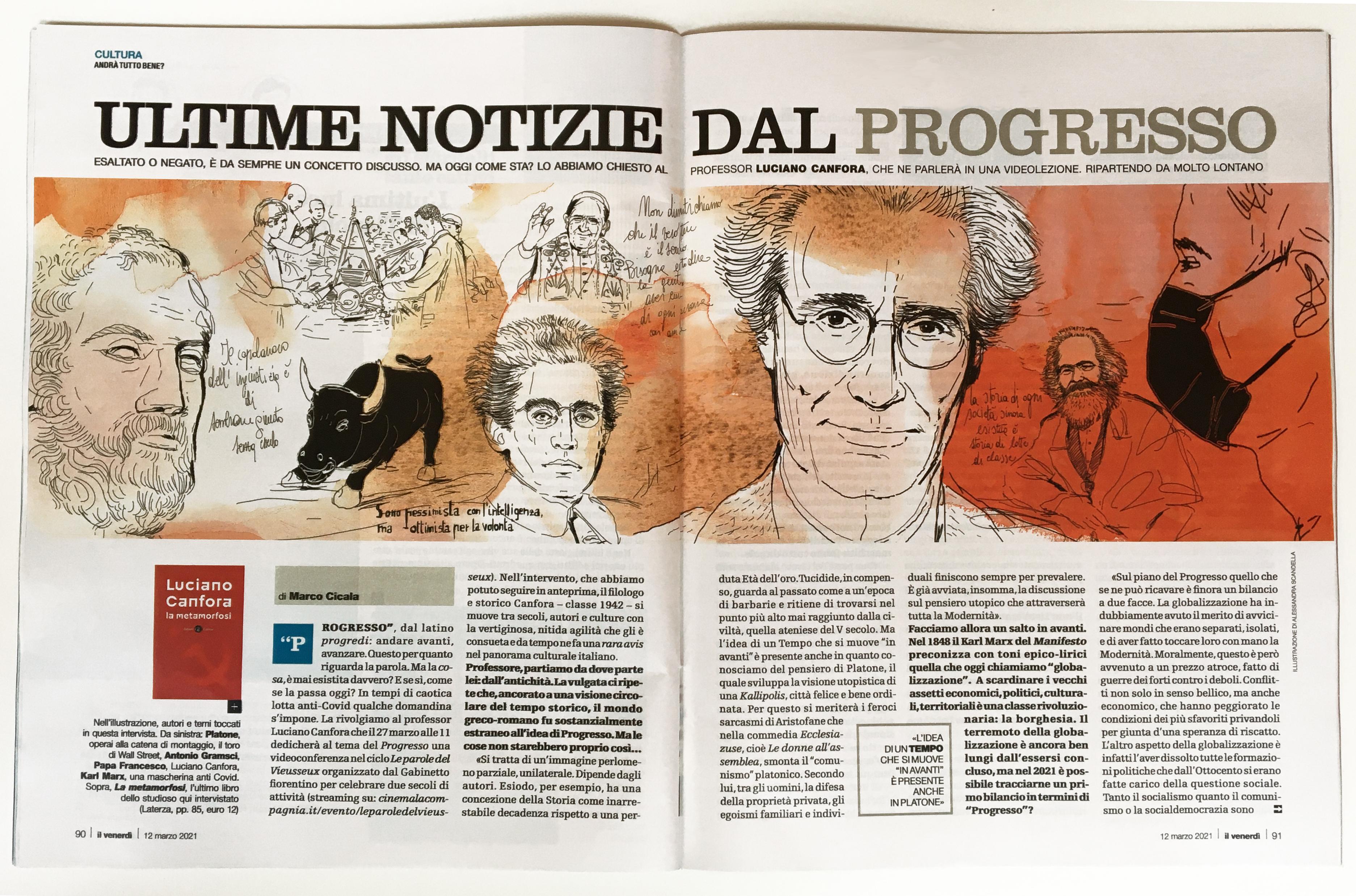 Il Venerdi', watercolor illustration history, Alessandra Scandella