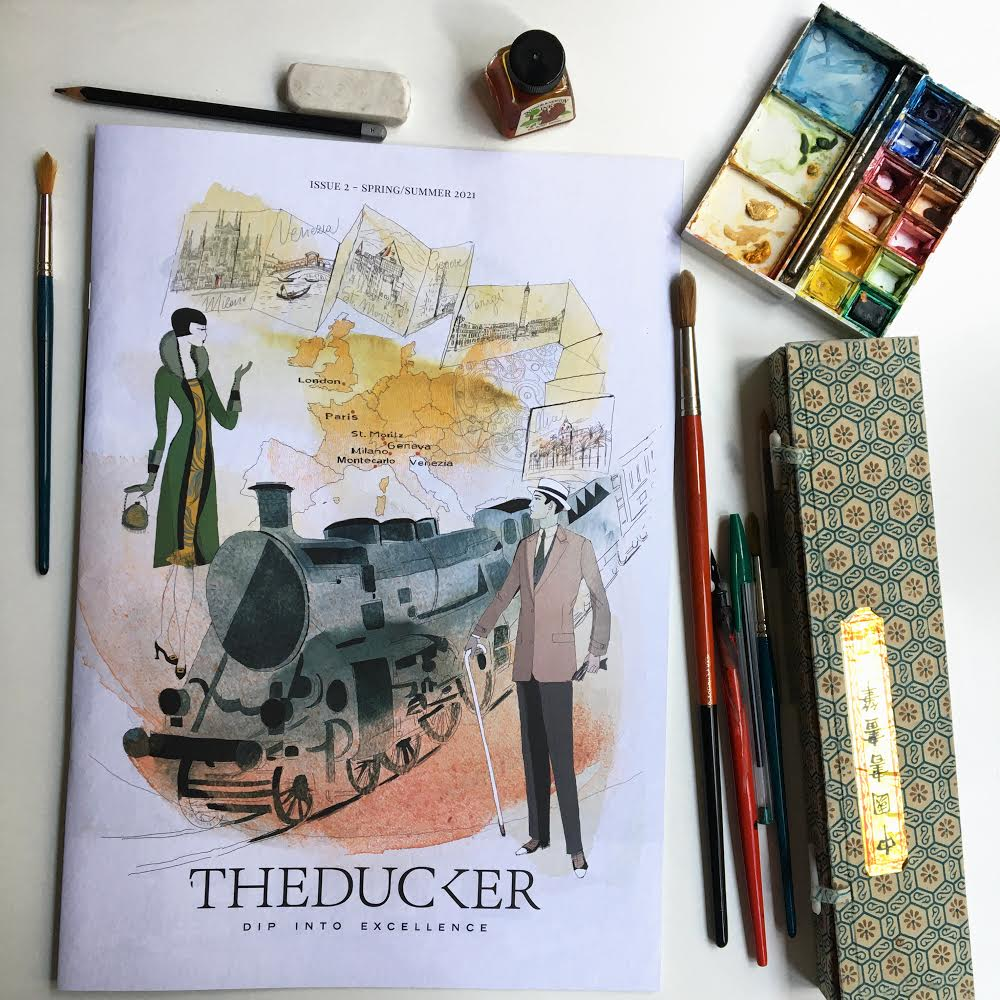 Watercolor fashion illustration for The Ducker