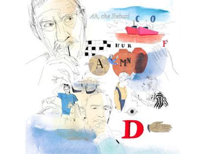 Watercolor illustration,  enigmistic, puzzle, portrait, wallpaper, Alessandra Scandella