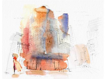 Watercolor illustration, New York city, fashion and design, wallpaper, city and decor, Alessandra Scandella copy