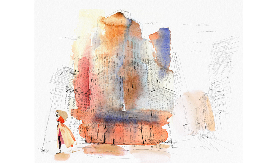 Watercolor illustration, New York city, fashion and design, wallpaper, city and decor
