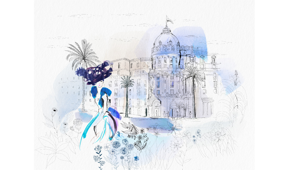 Watercolor illustration, Nice, France, city, fashion and design, wallpaper, city and decor