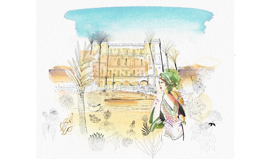 Watercolor illustration, Sicily, fashion and design, wallpaper, city and decor