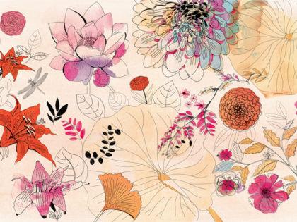 Watercolor illustration, design, wallpaper, flowers, Alessandra Scandella