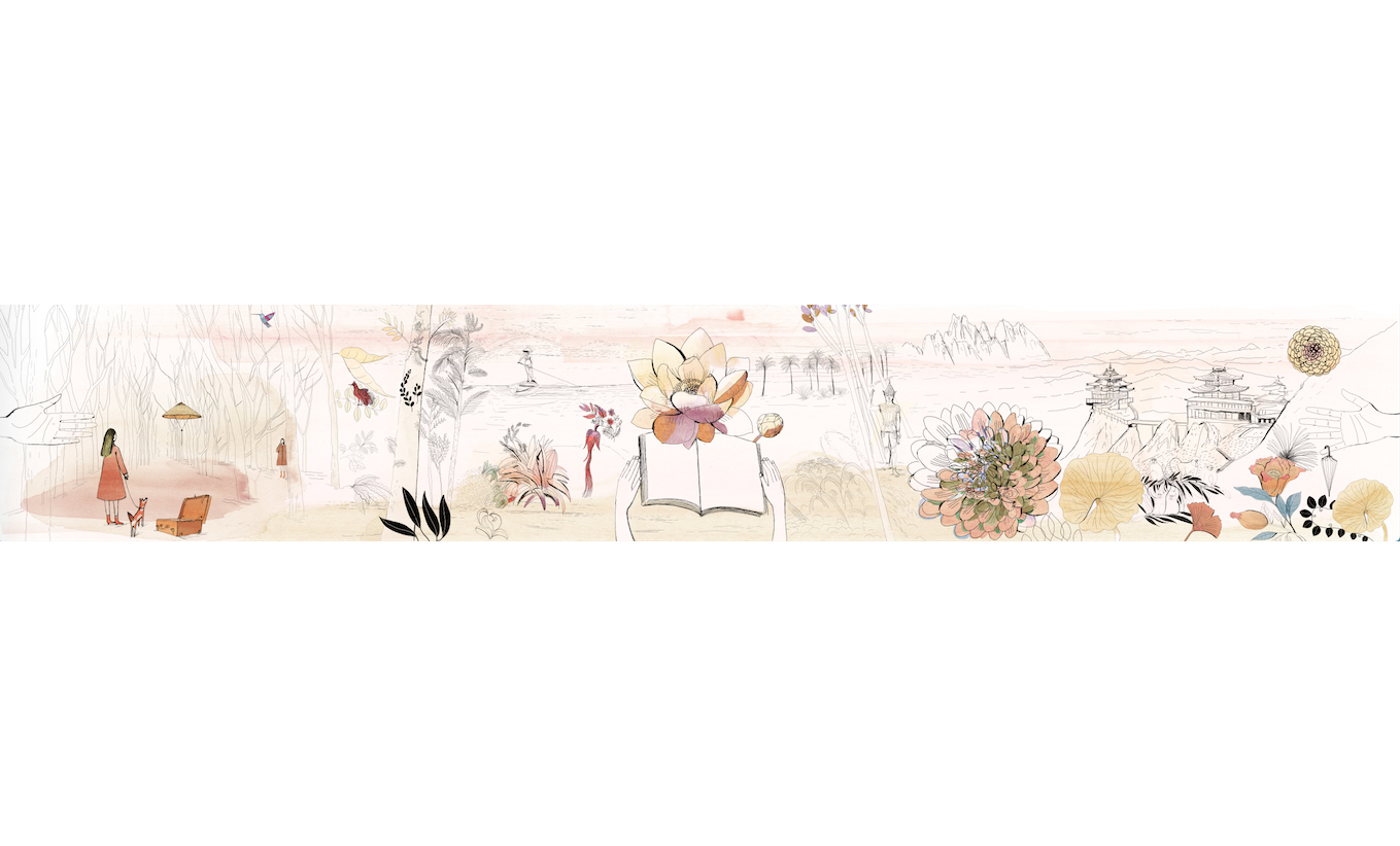 Watercolor illustration nature and poetry, a project for 3,2,1, book library about illustration and poetry