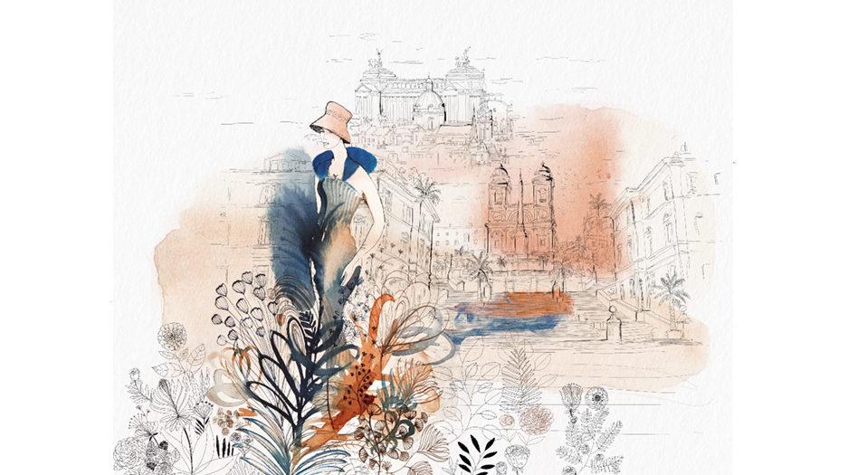 Watercolor illustration,Rome, city, fashion and design, wallpaper, city and decor, Alessandra Scandella copy