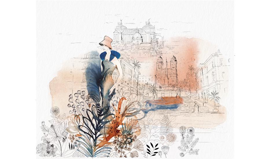 Watercolor illustration,Rome, city, fashion and design, wallpaper, city and decor,