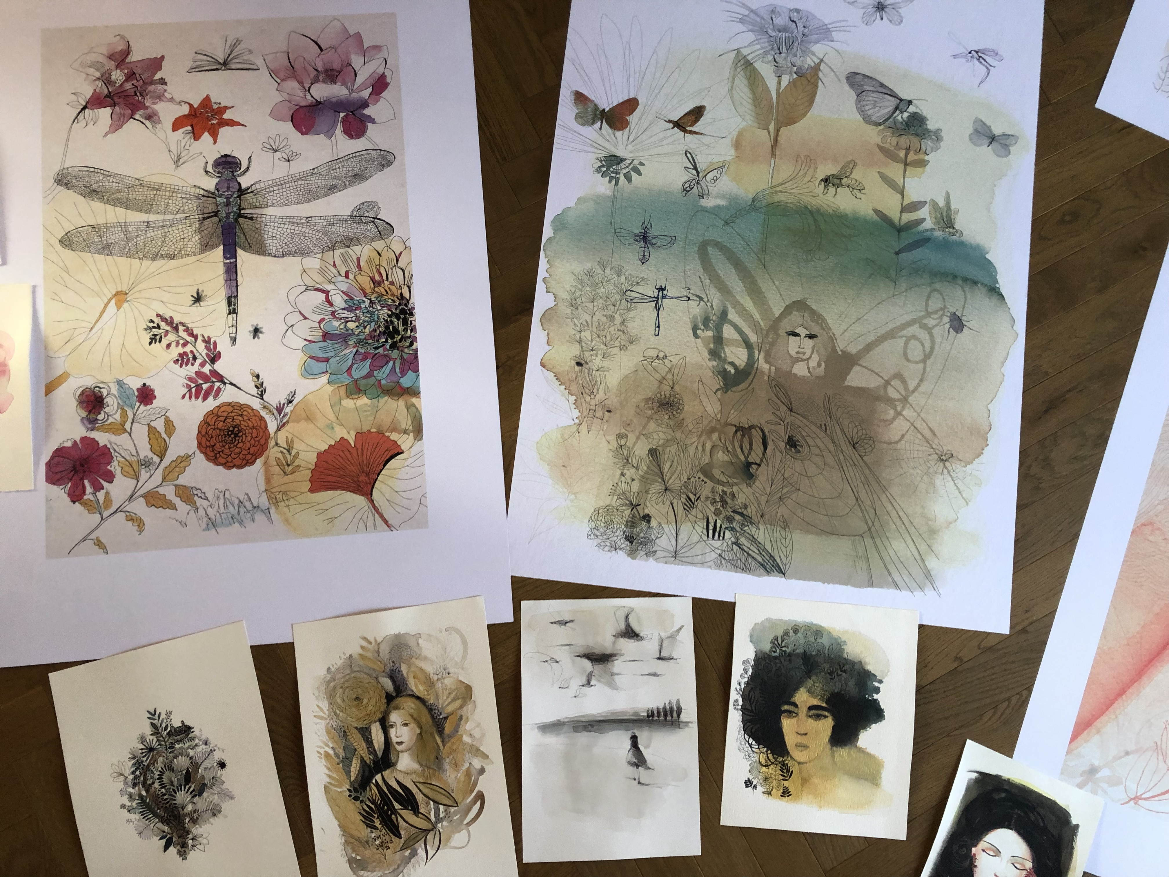 Watercolor fine art prints and hand made for an exhibition at HOOA Gallery in Milan