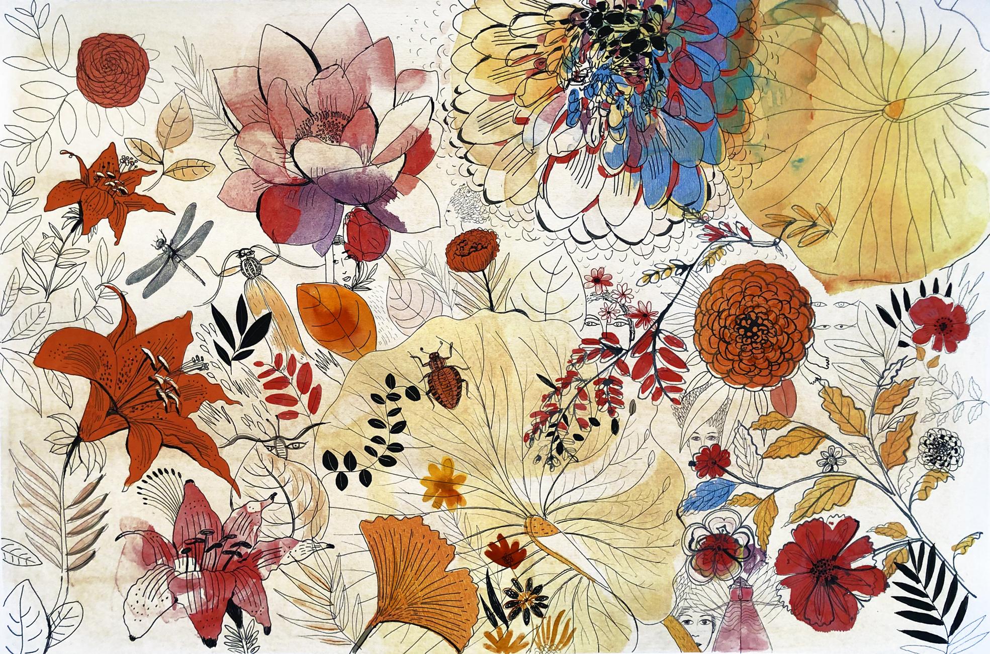 Watercolor illustration, flowers, 1,Alessandra Scandella